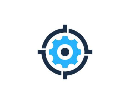 Gear Target Icon Logo Design Element