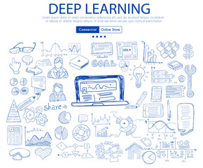 Deep Learning concept with Business Doodle design style: online studies, best books ,top resources.