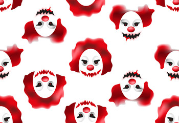 Happy Halloween seamless pattern with creepy and scary clown masks. Vector illustration