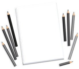Drawing block and gray pencils - blank paper pad longing after artistic creation - isolated vector illustration on white background.