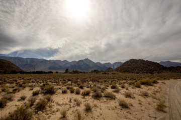 Rocks, Mountains and Sky at Alabama Hills, the Mobius Arch Loop Trailhead, Eastern Sierra, California, USA