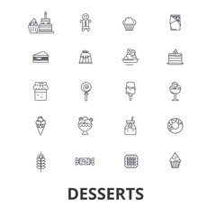 Desserts, cake, food, ice cream, cupcake, sweets, chocolate, cheesecake, coffee line icons. Editable strokes. Flat design vector illustration symbol concept. Linear signs isolated on background