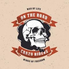 Vintage motorcycle graphics. Biker t-shirt. Motorcycle emblem. Monochrome skull