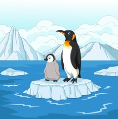 Carton mother and baby penguin on ice floe