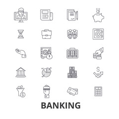 Banking, finance, money, banker, piggy, business, credit card, bank vault line icons. Editable strokes. Flat design vector illustration symbol concept. Linear signs isolated on background