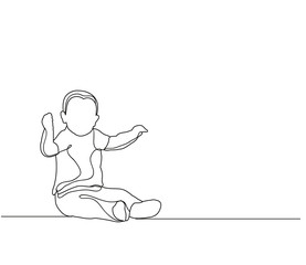 vector, baby sketch, outlines sitting