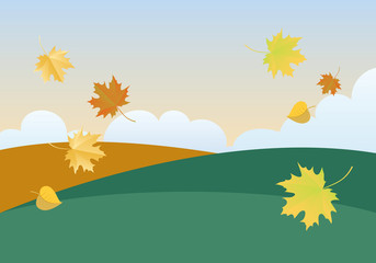 Autumn landscape vector. Autumn background vector illustration. Landscape with falling leaves