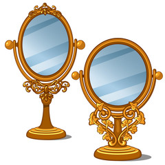 Two mirrors with golden frame and petal ornament in vintage style. Vector illustration in cartoon style on white background. Image isolated for your design needs