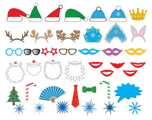 New year party set. Glasses, hats, lips, beard, antler, kokoshnik, crown, mask, snowflake and all. Vector.