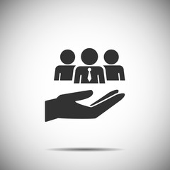 holding hand people icon vector , team people business