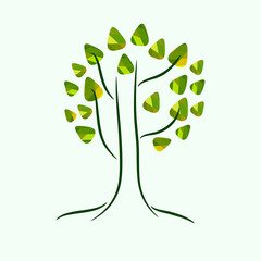 Minimalistic stylized drawing of a tree with colorful green leaves. Tree doodle illustration, can be used as icon or logo. Vector