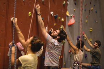 Climbing wall in the gym