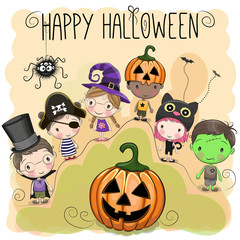 Cute Halloween illustration with kids