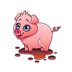 Cartoon pig isolated vector illustration