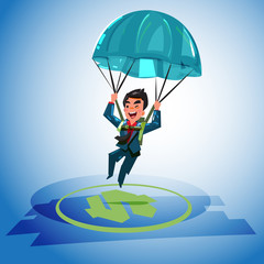 Businessman landing on a money icon target with parachute, business success cocncept. character design - vector