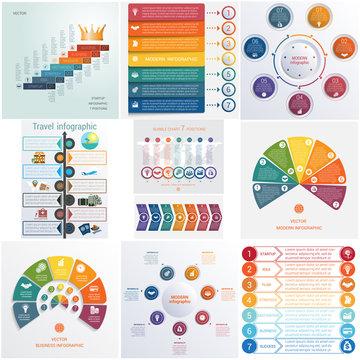 Set 10 universal templates elements Infographics conceptual cyclic processes for 7 positions