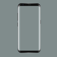 Black smartphone with blank screen. Realistic 3d Mockup for showcase your app projects.