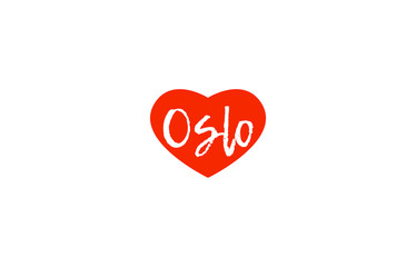European capital city oslo love heart text logo design