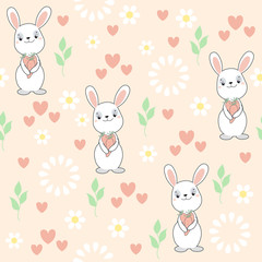 Children`s seamless pattern with cute cartoon bunny. For kid textile and other print. Vector.