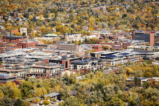Aerial picture of Boulder City in autumn, Colorado, USA.