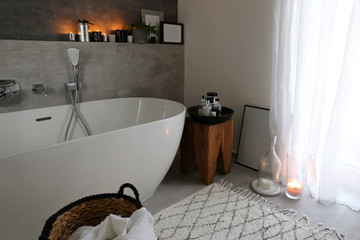 Modern bathroom / Interior design in Scandinavian spirit