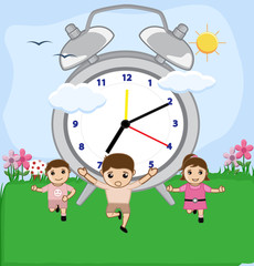 Kids Playing with Clock