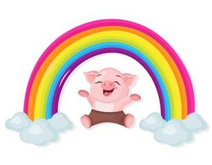 Happy Little pig and rainbow Vector illustration cartoon