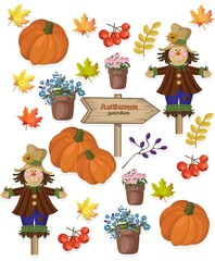Poster Aquarel Schedel Autumn pattern pumpkin flowers and seasonal viburnum Vector