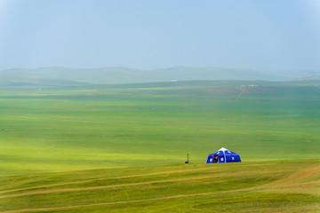 Lone Yurt Mongolian Steppe Rural Grassland