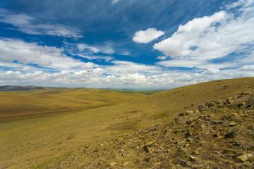 Hilly Mongolian Steppe Terrain Rural Mongolia