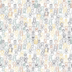 hand drawn people crowd. seamless vector pattern