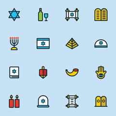 Hanukkah icons set jewish holiday hanukkah symbol set