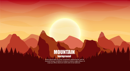 Travel realistic background outdoor with mountains colorful vector flat banners tourism set.