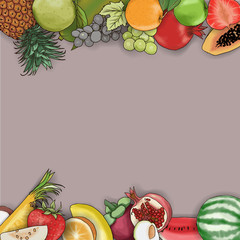 Vector hand Drawn Fruit for Graphic Design, Advertising Media, Label and text.