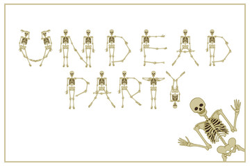 Lettering undead party with dancing skeletons font, set of letters. Stock vector illustration
