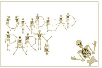 Lettering skeleton party with dancing skeletons font, set of letters. Stock vector illustration