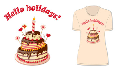 Hello holidays with t-shirt's  mock-up