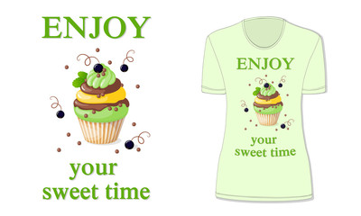 sweet time with cupcake and black currant, mockup