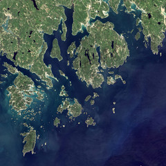 Satellite view of Acadia National Park.  Elements of this image furnished by NASA.