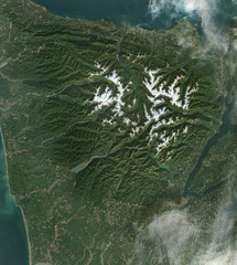 Satellite view of Olympic National Park. Elements of this image furnished by NASA.