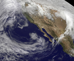 Satellite View of the U.S. West coast.  Elements of this image furnished by NOAA/NASA GOES Project