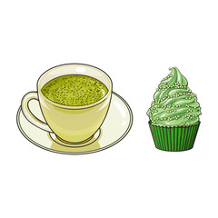 vector sketch cartoon hand drawn cup of whipped green mathca tea on a plate, cupcake sweets side view. Isolated illustration on a white background. Traditional tea ceremony attribute, symbol