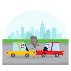 Road accident, head on collision on city street with car characters, side view cartoon vector illustration. Two cartoon car characters with human faces have road accident, collision on city street