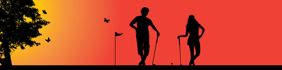 Vector silhouette of golfer in nature at sunset.