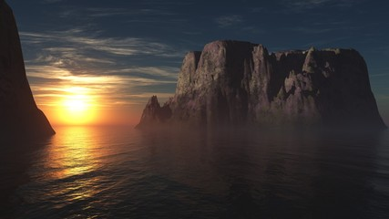 sunset among the rocks on the sea, 3d rendering