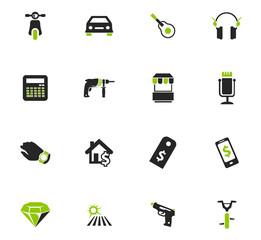 Pawnshop icons set