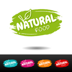 Wall Mural - Set of Natural food badges. Vector hand drawn labels.