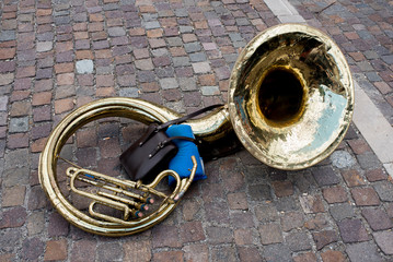 old and vintage sousaphone on street