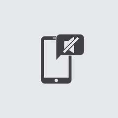 Smartphone with mute icon in a flat design in black color. Vector illustration eps10