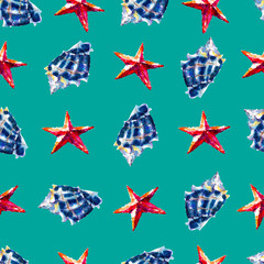 Watercolor seamless pattern with seashells and sea stars, hand-drawn watercolor background.